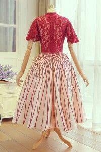 Tea length Homecoming Dresses, Red Tea-length Homecoming Dresses, Tea-length Long Homecoming Dresses, Chic Homecoming Dress Red Lace High Neck Short Prom Dress Party Dress WF02G44-928