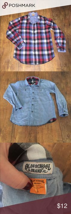 REVERSIBLE Boy's Plaid & Denim Looking Shirt Gently used, completely reversible, plaid and denim looking shirt is super soft and has fully functional pockets on both sides of shirt. Includes additional button, just in case😊This shirt was a cool find and hoping someone else can enjoy it! Old School Brand Shirts & Tops Button Down Shirts