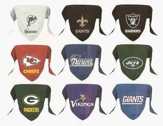 NFL dog bandana decorated with official team primary logo. Select from 27 teams. Dog bandana features a sewn in loop to slide over dog collar and is constructed in micro mesh polyester.   Available in Small and Large sizes. Both sizes are the same $12.98 each plus shipping