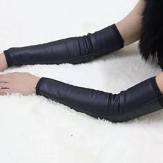 Pair of Chic Winter Thicken Black PU Arm Sleeves For Women #men, #hats, #watches, #belts, #fashion, #style