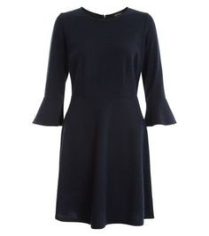 Navy Boucle Knit Flared Sleeve A-Line Dress