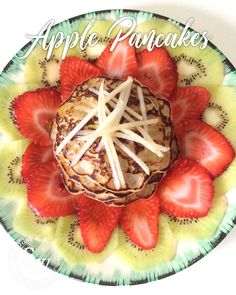 Apple pancakes topped with kiwi, strawberries and pears is a wonderful way to start the day. This my take on the American stacked pancakes. Strawberry Truffle, Summer Fruit, Summer Food, Pancake Stack, Classic Cheesecake, Mothers Day Breakfast, Strawberries And Cream, The Fresh, Summer Recipes