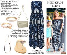 Hedi Klum in a strapless tie dye maxi. Super cool style!