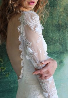 Low back traced with lace...nothing prettier than Maybelle, Romantique by Claire Pettibone http://romantique.clairepettibone.com/collections/into-the-sunset/products/maybelle