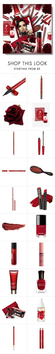 """Flower Inspired Beauty - Red roses!"" by sarahguo ❤ liked on Polyvore featuring beauty, MAKE UP FOR EVER, Clarins, Bourjois, Mason Pearson, Stila, L.A. Girl, Blanca, By Terry and Chanel"