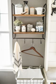Laundry Room Storage Solutions: Creative Organizers for a Small Laundry Room Small Laundry Rooms, Laundry Room Storage, Landry Room, Wall Shelf Unit, Laundry Cabinets, Laundry Room Remodel, Laundry Room Inspiration, Home Decor Accessories, Storage Solutions