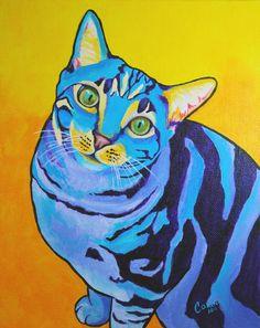 WANT! Custom Pet Portrait - Custom Pop Art Pet Portrait Acrylic on Canvas Board 8 x 10 - By Corina St. Martin