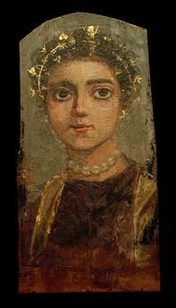Portrait of a young woman.| Egyptian, c. 120/130 AD.  Encaustic painting on wood with gold leaf, 34.2 × 16.4 cm. Found: er-Rubayat.
