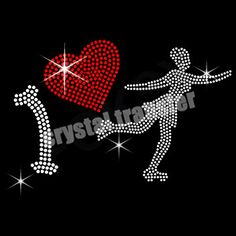 Iron On Rhinestone Transfers I Love Dance For Clothing