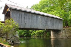 Windham, Maine Covered Bridge  [The Babb's Bridge is one span Queenpost truss with a total length of 79 feet. It carries Covered Bridge Road over a the Presumpscott River. It is located south of Windham. This historic bridge was built in 1843 was reconstructed in 1976 after being destroyed by fire in 1973.]