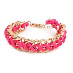 Bauble Bar braided chain bracelet in bright pink. Love this bracelet from Bauble Bar.  Perfect piece for bracelet stacks. Bauble Bar Jewelry Bracelets