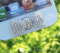 Clearout Special Sale 1PC  Bling Crystal Big Bow Apple iPhone Home Button Sticker, Cell Phone Charm for iPhone 5,4,4g,4s, iPad on Etsy, $2.99