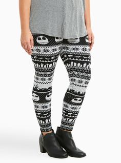"""These black and white fair isle knit leggings are equal parts Christmas and Halloween with a Jack Skellington print detailing the stretchy and form-fitting design. A knit waistband smooths you out while staying stretchy,<div><ul><li style=""""LIST-STYLE-POSITION: outside !important; LIST-STYLE-TYPE: disc !important"""">28"""" inseam</li><li style=""""LIST-STYLE-POSITION: outside !important; LIST-STYLE-TYPE: disc !important"""">Rayon/nylon</li><li style=""""LIST-STYLE-POSITION: outside !important…"""
