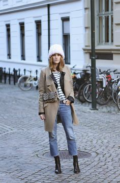 glamradar cropped lfares striped tee black leather moto jacket camel winter coat fall jacket winter coat booties flares and booties cropped pants and booties beanie chunky knit hat leopard print crossbody bag fall layers Fashion Mode, Look Fashion, Winter Fashion Outfits, Autumn Winter Fashion, Trendy Outfits, Cool Winter, Winter Coat, Winter Style, Street Chic