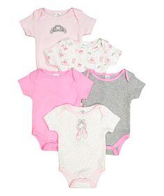 Another great find on #zulily! Pink & Gray Ballet Bodysuit Set - Infant #zulilyfinds