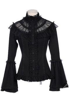 Annabel Gothic Victorian Black Mesh Top by RQBL