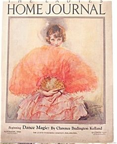 vintage ladies home journal magazine covers | 48 W.E Webster Ladies Home Journal Cover 1926 Art deco Lady Feather ...