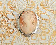 Vintage carved shell cameo brooch in sterling silver setting, hallmarked, 1951 by CardCurios on Etsy Letter B, Carat Gold, Heart Of Gold, Vintage Brooches, Shells, Carving, Sterling Silver, Trending Outfits, Unique Jewelry