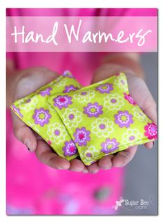 Hand Warmers are filled with rice.  Pop them in the microwave to heat them.  Also on this 25 Things to Sew in Under 10 Minutes