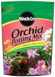 Scotts Company MG89178300 Miracle-Gro Orchid Potting Mix, 8-Quart by The Scotts Company. $3.46. Composted bark and peat moss provides easy anchoring for roots and moisture detention. Feeds for up to 6 months with Miracle-Gro continuous release plant food. Miracle-Gro orchid potting mix. Enriched with MicroMax nutrients for hearty, vigorous plants. Specially formulated to provide proper aeration and drainage for orchids. Miracle-Gro orchid potting mix composted bark a...