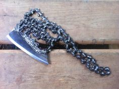 Chainsaw Blade Cleaver. Post Apocalyptic Weapon Hand Forged by Blacksmith.