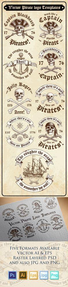 Vector Pirate Logo Templates PSD, Transparent PNG, Vector EPS, AI Illustrator