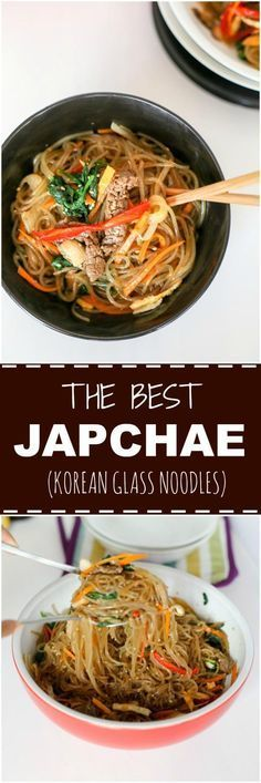 Japchae (Korean Glass Noodle Stir Fry) - My Korean Kitchen Healthy Diet Recipes, Healthy Meal Prep, Vegetarian Recipes, Cooking Recipes, Healthy Food, Dinner Healthy, Chinese Chicken Recipes, Asian Recipes, Easy Recipes