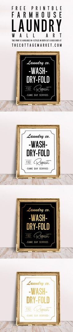 FREE Printable Laundry Room Wall Art Looking for some wall art to spruce up your laundry room? These FREE printable laundry room wall art posters are available in 4 classic styles. Foto Transfer, Farmhouse Wall Art, Cottage Farmhouse, Farmhouse Plans, Farmhouse Style, Farmhouse Decor, Decoupage, Kitchen Wall Art, Kitchen Redo