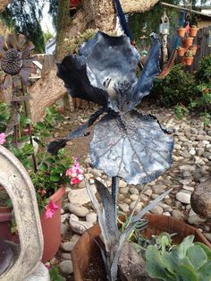 Iris metal sculpture by MartisMetalCreations on Etsy, $175.00