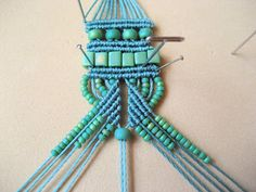 Example of photo in tutorial with instructions and pattern for micro macrame jewelry bracelet