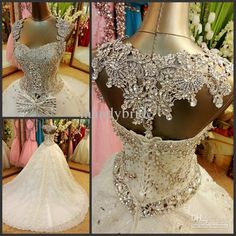I love the beading on the top!!!  Wholesale A Line Wedding Dresses - Buy Swarovski Crystals Bow Appliques Sleeveless Sweetheart A-Line Court Train Wedding Dresses Bridal Gowns A003, $399.0 | DHgate