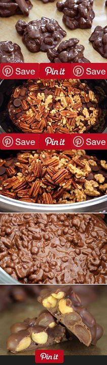 Crockpot Chocolate-Nut Clusters Makes 45 pieces of chocolate Ingredients Vegetarian Gluten free Baking & Spices  cup Bittersweet chocolate 1 (12-ounce) package Chocolate semisweet 1 (12-ounce) package Milk chocolate Nuts & Seeds 1 (12-ounce) package Pecans toasted 1 12-ounce package Walnuts toasted Tools & Equipment 1 (12-ounce) jar roasted
