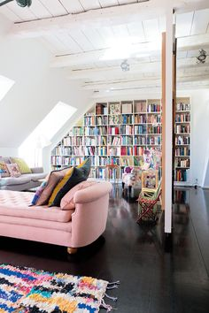 Love this colorful room and pink lounge