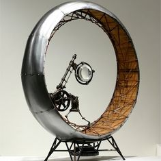 Recycled Art by Greg Brotherton of San Diego, CA - Pushed Around Muse Kunst, Biscuit, Trash Art, Muse Art, Ex Machina, Recycled Art, Hanging Art, Sculpture Art, Steel Sculpture