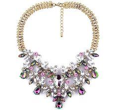 Red Apple Sparkle Bold Teardrop Crystal Necklace