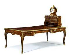 Very fine Louis XV gilt bronze mounted kingwood bureau plat and cartonnier mid-18th century