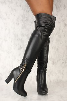 2cee3cfa2931 Sexy Black Buckle Detail Thigh High Chunky Heel Boots Faux Leather