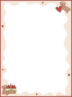 Papel de carta- Ursinhos e corações