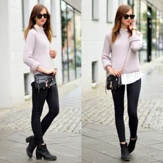 Black pants, ribbed sweater, button down, layers, fall oufit