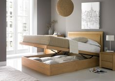 The Arran Oak  Oak version of our leather lift up bed - minus the headboard? Time4Sleep £529