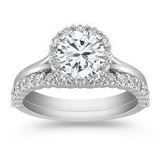 Halo Pave-set Diamond Wedding Set