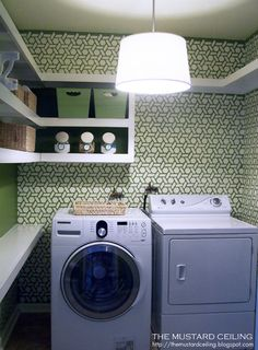 Great Laundry Room. I love the jar idea for oxy and other things! The stencil is great!