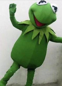 Kermit the Frog Mascot Costume Halloween Party Adult Cosplay Fancy Dress Custom #kermit #kermitcostume #cosplay