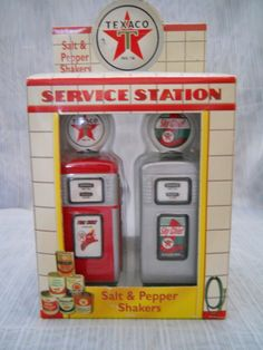 Texaco Gas Pump Salt and Pepper Shakers - vintage, collectible, Enesco, Texaco, novelty by TheShakerShack on Etsy