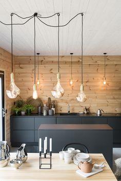 Modern Cabin Interior, Kitchen Interior, Kitchen Design, Interior Design, Wood Interiors, Cottage Interiors, Modern Log Cabins, Mobile Home Living, Tiny House Cabin