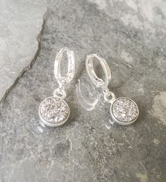 Silver Druzy Earrings, Druzy Earrings, Silver Druzy Dangles, Druzy Dangles, Silver Druzy, Silver Earrings - pinned by pin4etsy.com