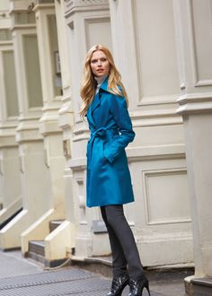"""Fall 2013 - SNEAK PEEK: Our rich teal """"Quilted"""" trench hits the mark on the quilted and colored trench trend this year that has been so lavishly implemented by Burberry and Balmain this Fall."""