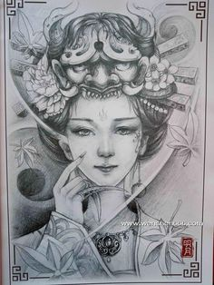 正面艺伎纹身手稿 美女纹身手稿