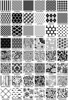 Black and white envelope liner pattern ideas. I'm totally doing Flourish.