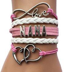 Love Mom/Nana/Grandma Bracelet- Family Gift Heart Charm Handmade Leather Wrap Retro
